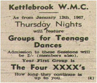 As from January 12th Thursday nights will feature teenage dances. Wilnecote Community Centre - First group: Four XXXXs