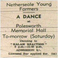 Netherseal Young Farmers Dance. Halam Reaction. Polesworth Memorial Hall, 9.00pm-11.45pm